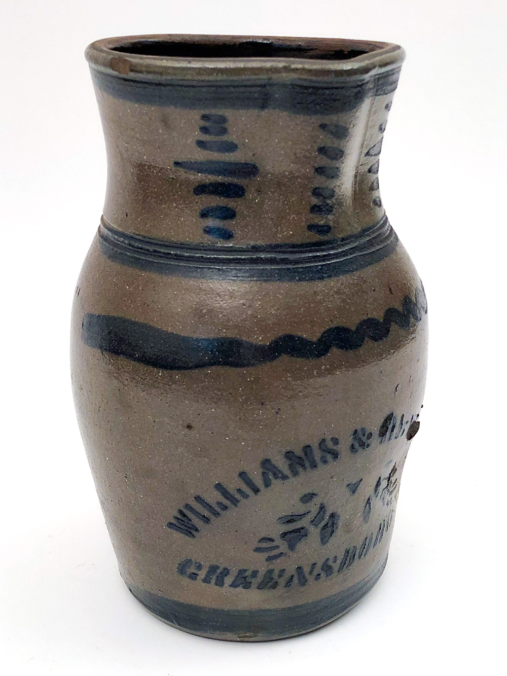 Greensboro Pennsylvania Blue Decorated Stoneware Pitccher Williams and Reppert