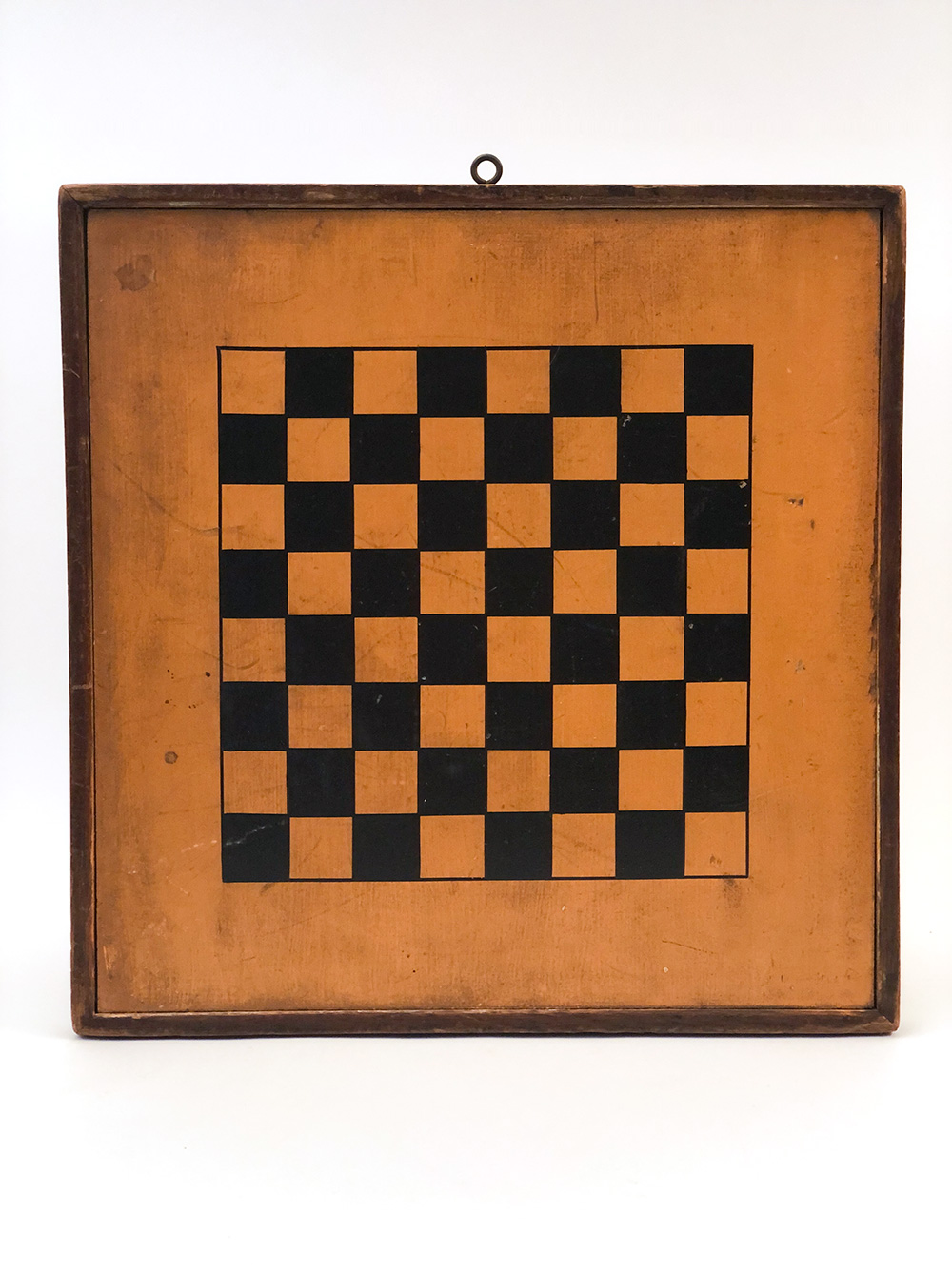 mustard painted double sided 19th century checkers and backgammon gameboard