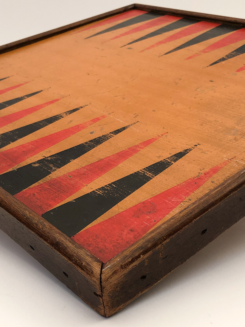 19th century paint decorated wooden checkers gameboard