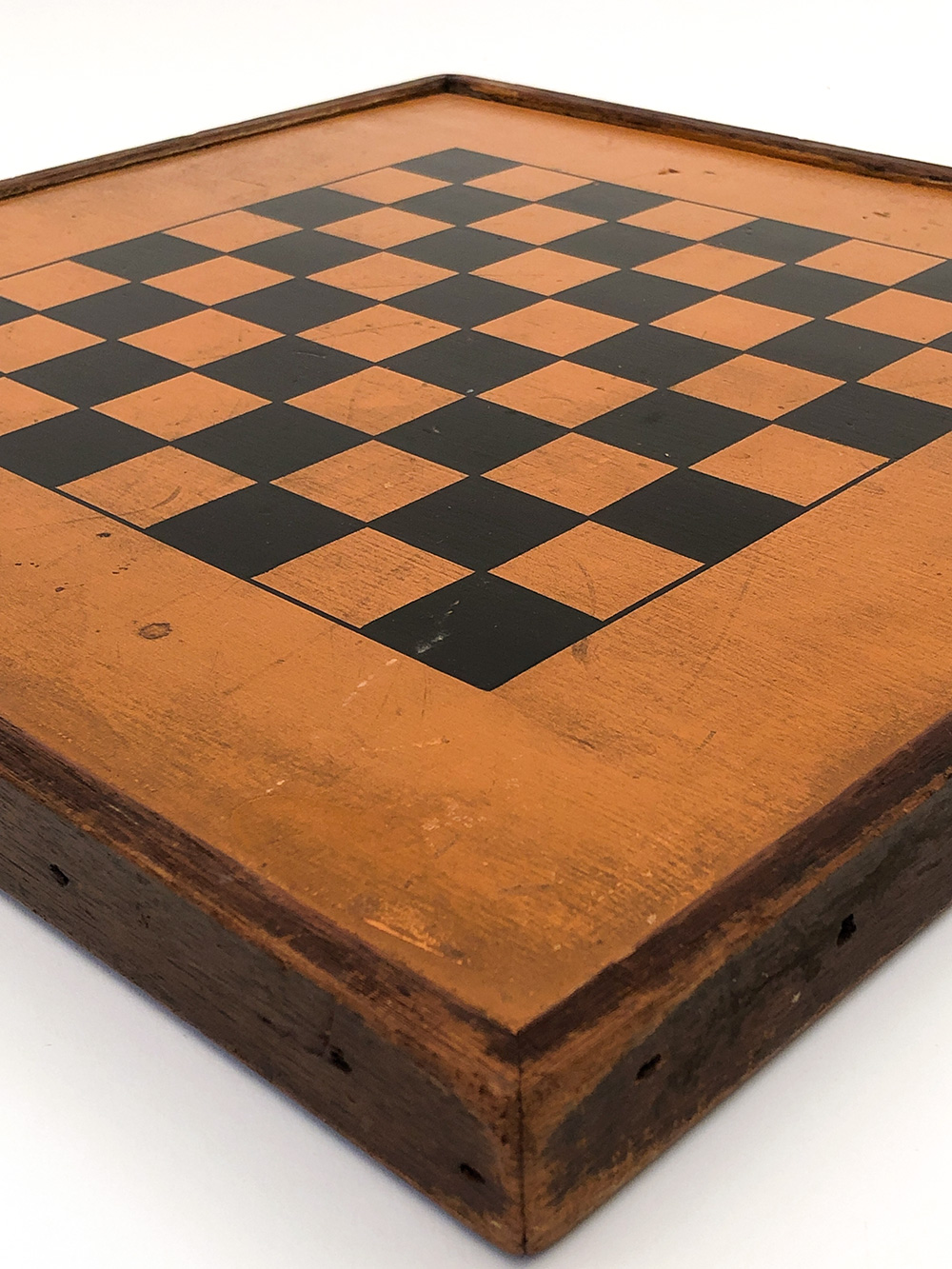 antique american paint decorated wooden checkers gameboard