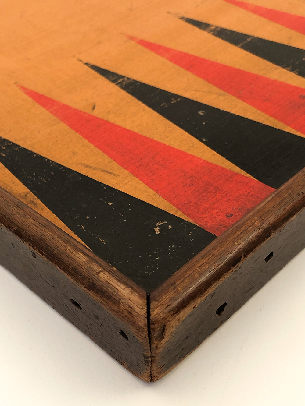 detail view mustard painted double sided 19th century checkers and backgammon gameboard