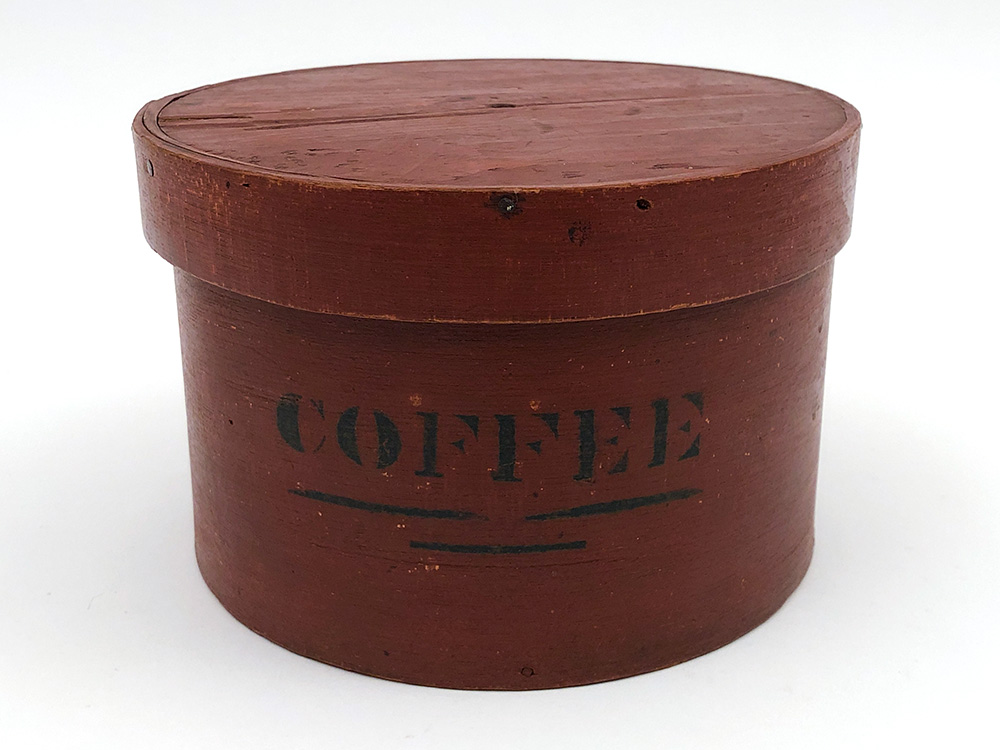 Coffee Pantry Box in Original Red and Black Paint For Sale