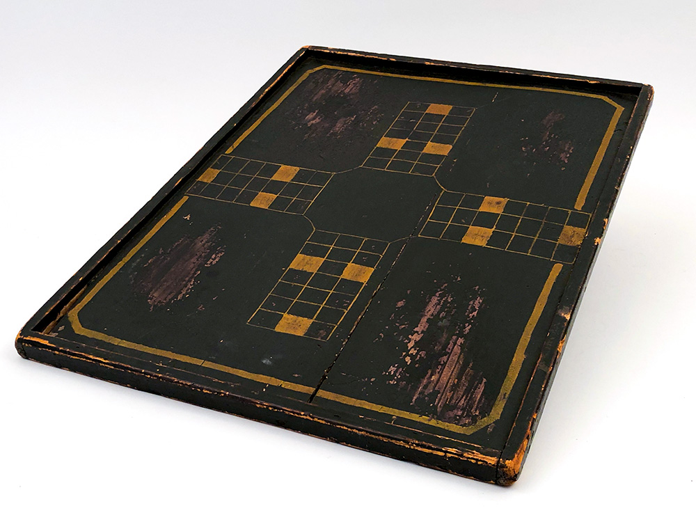 Black and Mustard Original Paint Decorated Antique American Parcheesi Gameboard For Sale