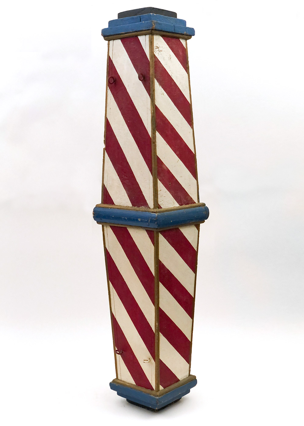 antique original paint decorated wooden barber pole for sale