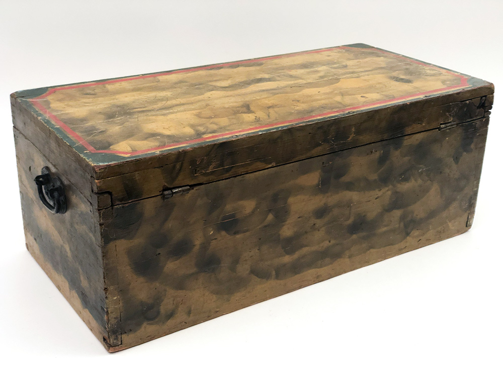 early american smoke decorated chest original polychromatic paint