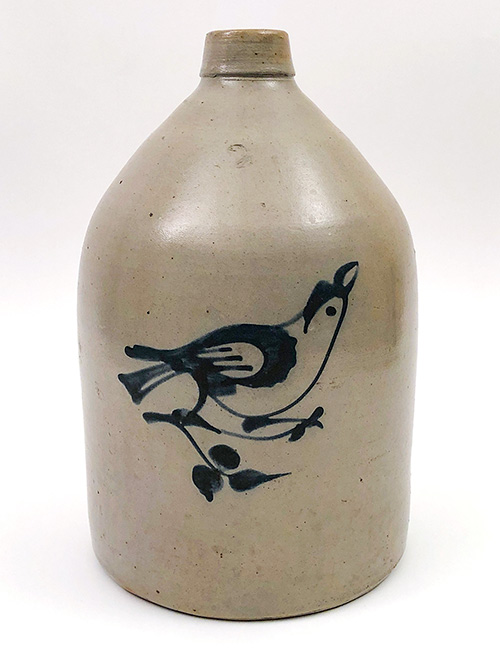 Antique blue decorated bird jug by Fulper Ohio Stoneware
