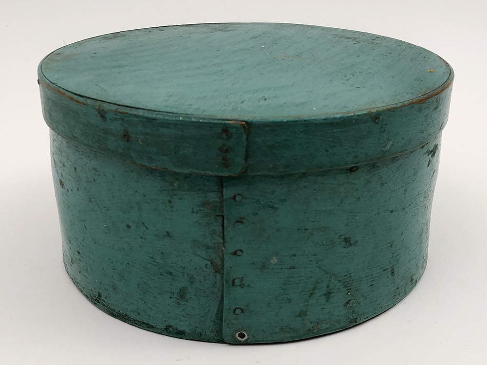 Early Pantry Box in Original Light Blue Paint For Sale From Z and K Antiques