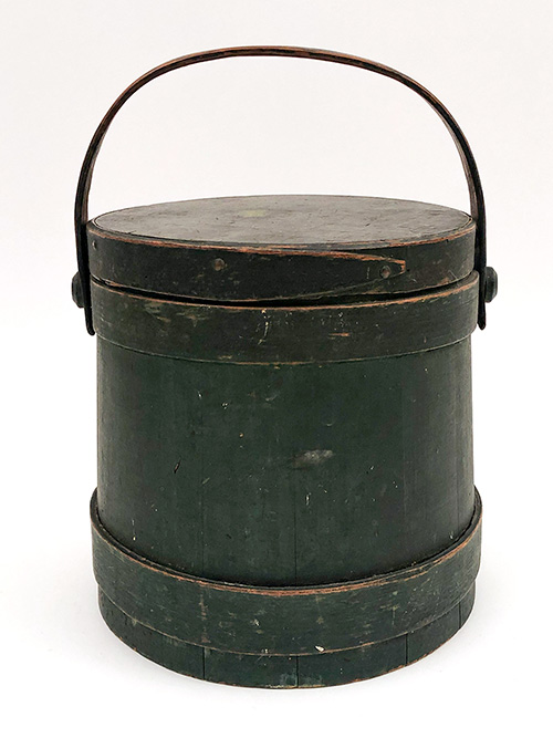 antique wooden firkin surgar bucket in original green paint for sale
