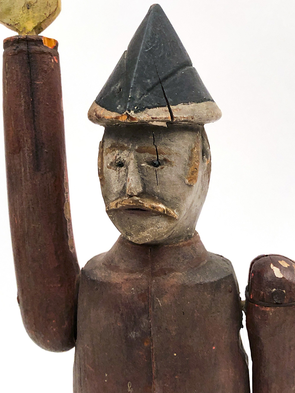 Antique American Folk Art Paint Decorated Lumberjack Whirligig For Sale