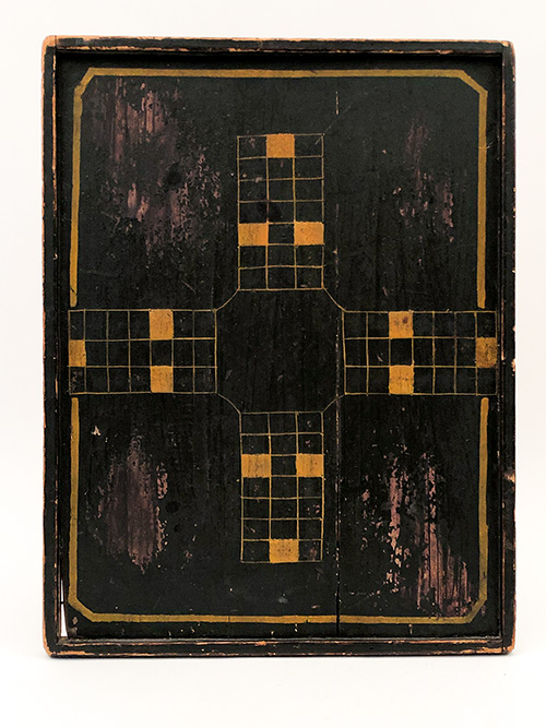 black and mustard paint decorated wooden antique parcheesi gameboard