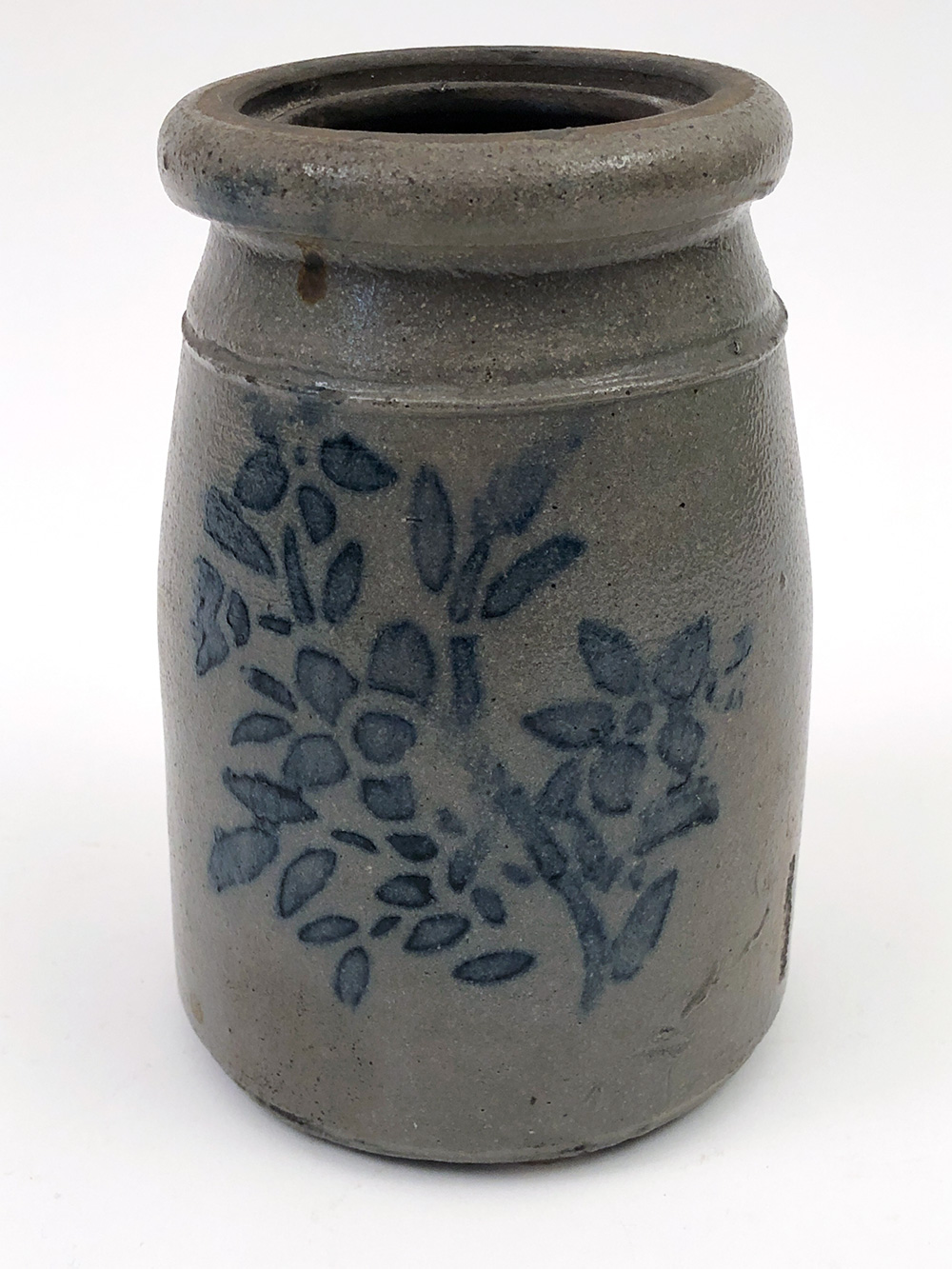 small blue stencil decorated salt glazed Pennsylvania stoneware canning jar for sale