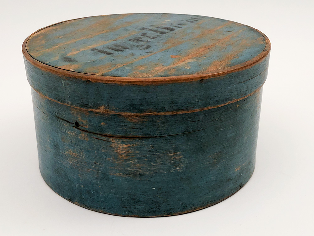 Antique American Gingerbread Pantry Box in Original Blue Paint Signed J Burr