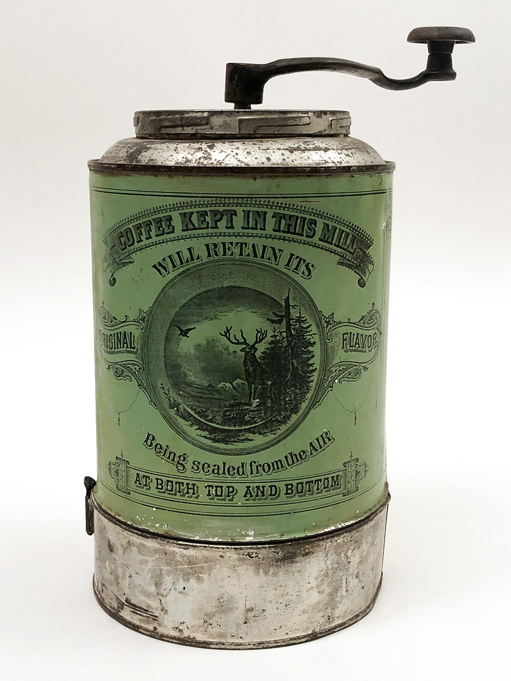 green norton brothers tin litho coffee grinder