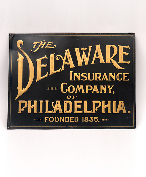 the delaware insurance company of philadelphia founded 1835 tin sign