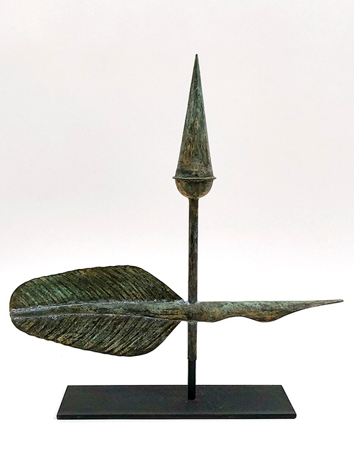 19th Century Antique American Quill Copper and Gold Weathervane For Sale