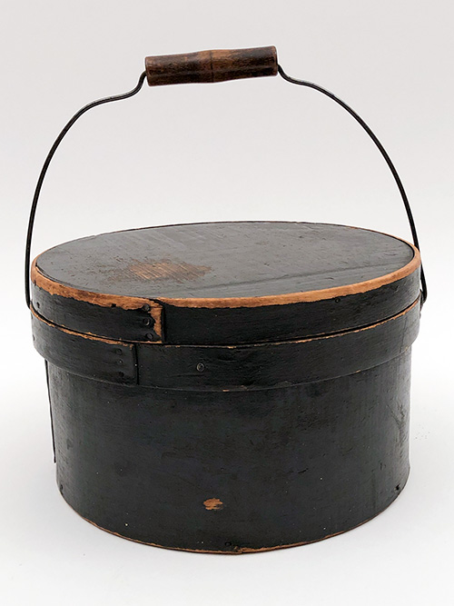 swing handled antique pantry box in original black paint