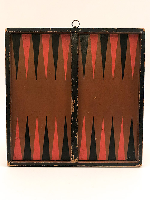 Antique Double Sided Painted Gameboard for Sale Red Black Brown Backgammon and Checkers