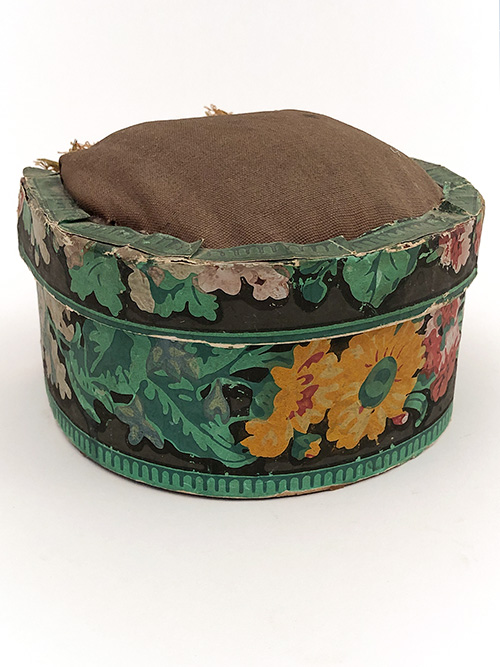 antique wallpaper box pin cushion sewing top 19th century 1800s