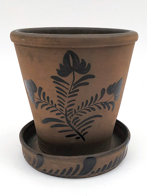 tanware flowerpot antique pennsylvania stoneware 19th century 1880s 3 floral blossoms