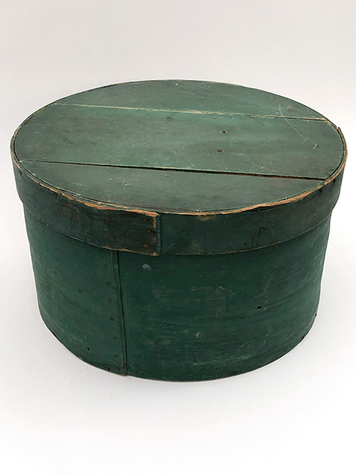 Large 18 inch original paint green round woodenware antique country kithcen primitives for sale