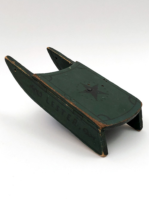 Antique Wooden Paint Decorated Dolls Sled Green and Black Lester and Star for Sale