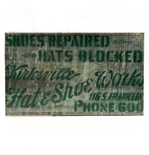 antique tin hats shoes phone number early trade sign