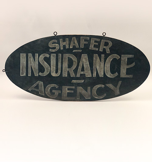 Shafer Insurance Agency 1920s painted double sided trade sign for sale