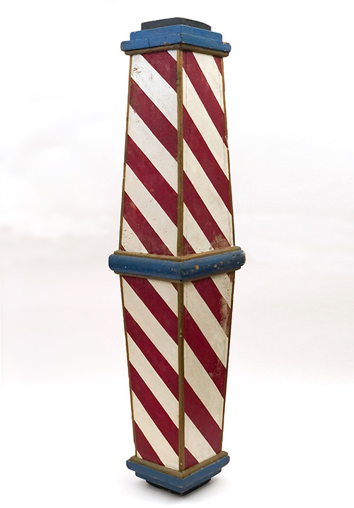 antique wooden barber pole for sale red white blue original paint