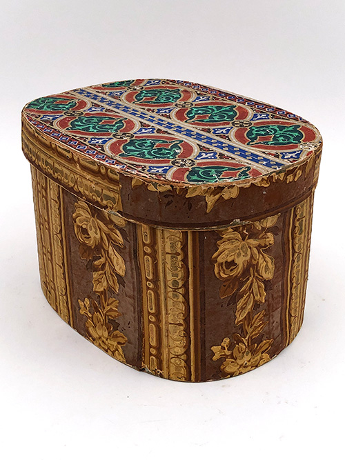 19th century antique wooden wallpaper box vibrant gold