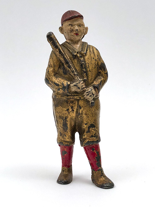 Baseball Player Bank Antique Painted Cast Iron AC Williams Red Gold Painted American Collectable Sports Toy