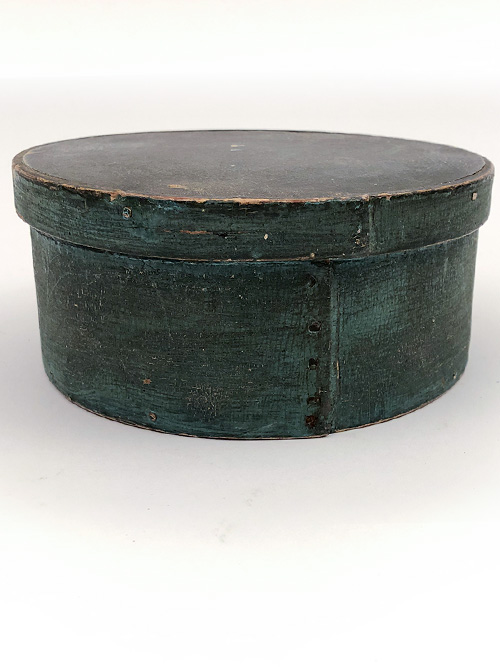 Blue painted original surface antique round wooden pantry box for sale