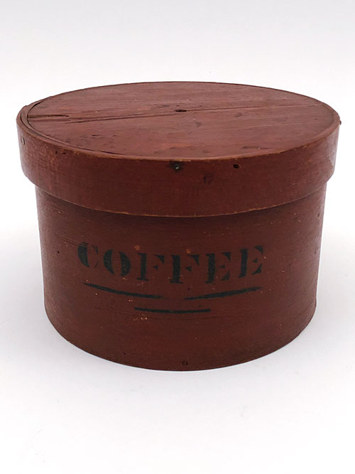 Original Surface Red Paint Black Stencil Round Antique Wooden Pantry Box from New York