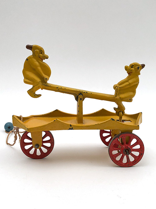 Kenton Katzenjammer Cast Iron Seesaw Pull Toy For Sale