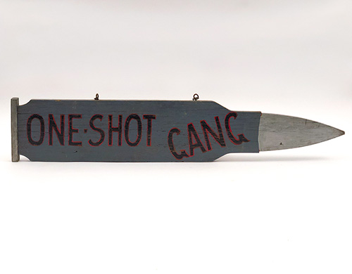 antique wooden painted trade sign for a hunting club one shot gang