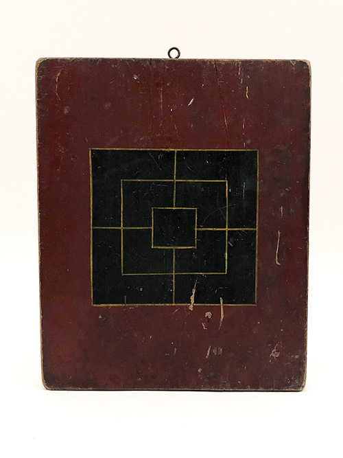 antique double sided wooden gameboard in red black and mustard yellow paint decoration for sale