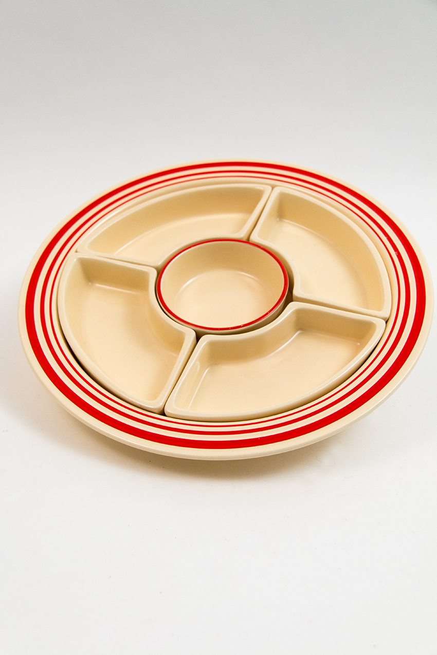 Rare fiestaware vintage red striped ivory relish tray marked fiesta